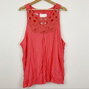 Maurices Scallop Lace Neck Tank Top Plus 3X Coral
